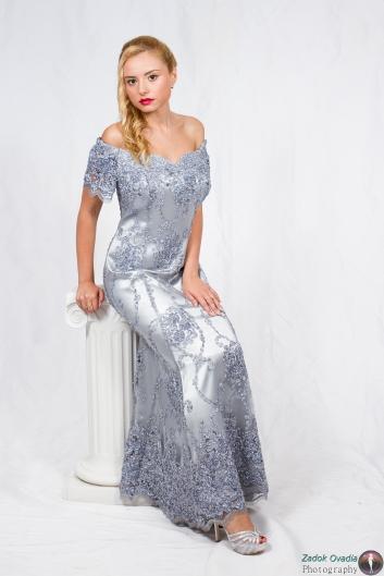 <h5>שמלת תחרה כסופה ברודורה</h5>